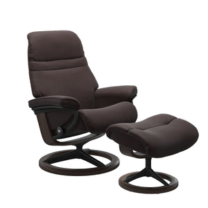 Stressless Sunrise Medium Recliner and Ottoman with Signature Base