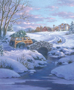 A Classic Christmas Woody Wagon Farm Scene Panel
