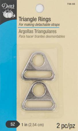 Dritz Triangle Rings 1in Nickel 2pc