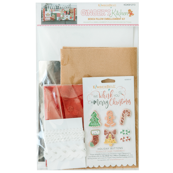 Kimberbell Ginger's Kitchen Bench Pillow – Embellishment Kit