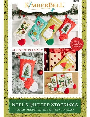 Kimberbell Noel's Quilted Stockings Machine Embroidery CD KD593