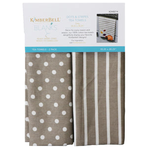Kimberbell Tea Towels Dots & Stripes (Grey)