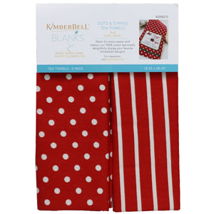 Kimberbell Tea Towels Dots & Stripes (Red)