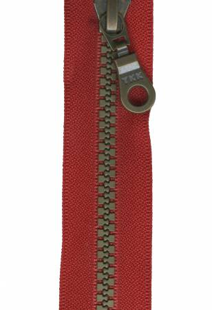 Antique Brass Closed Bottom Zipper 9in Cherry