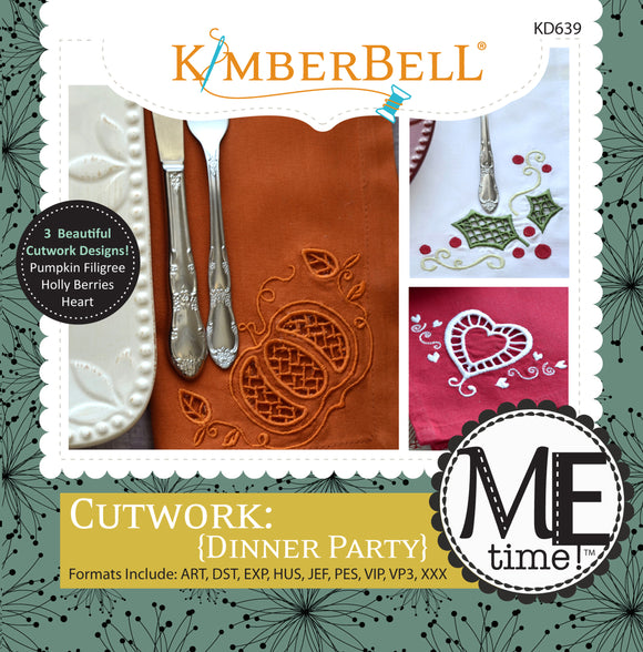 Kimberbell Cutwork {Dinner Party} Machine Embroidery CD KD639