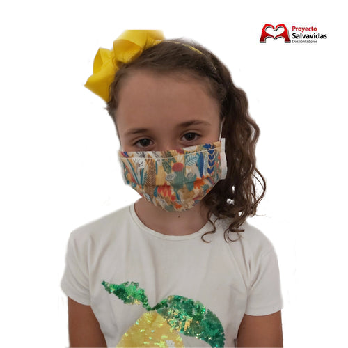 Mascarilla Reutilizable estampado mod. Tropical YGR