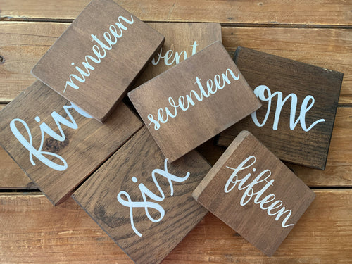 Wood Table Number Set