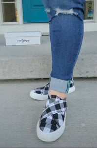 White Plaid Velcro Shoes