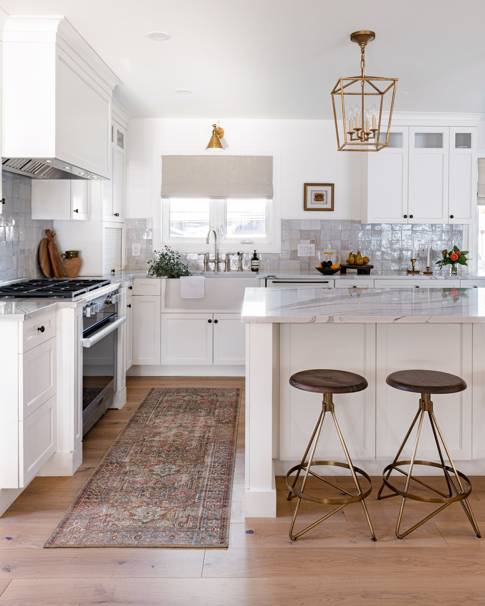 Warm and timeless kitchen runner.