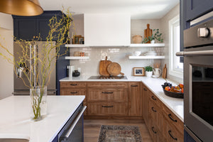 Two toned navy and wood kitchen interior design