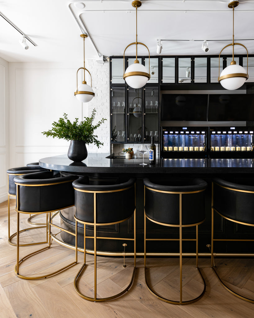 Luxury bar front with brass detailing