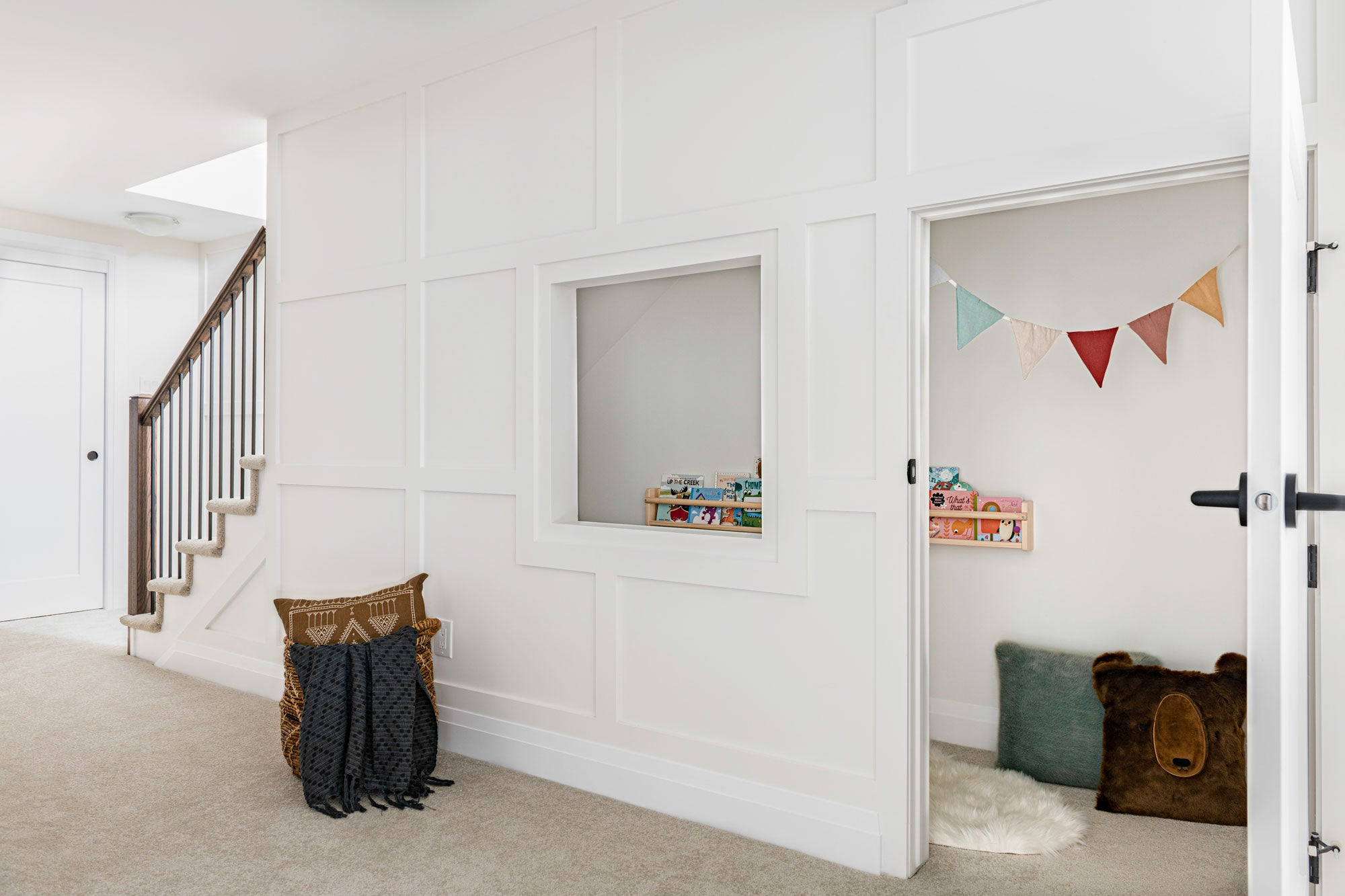 Play area under the basement stairs for kids