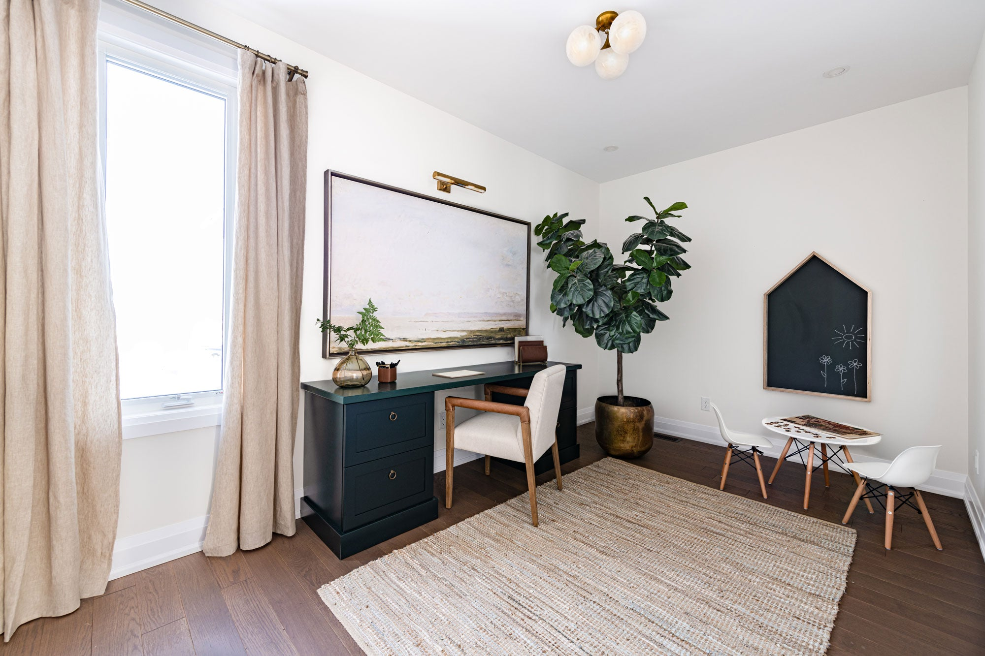 Home office with play area