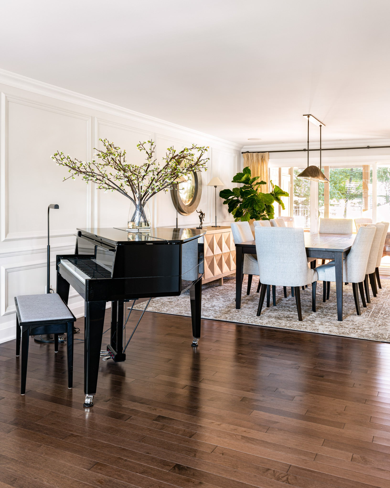 Dining room with piano.