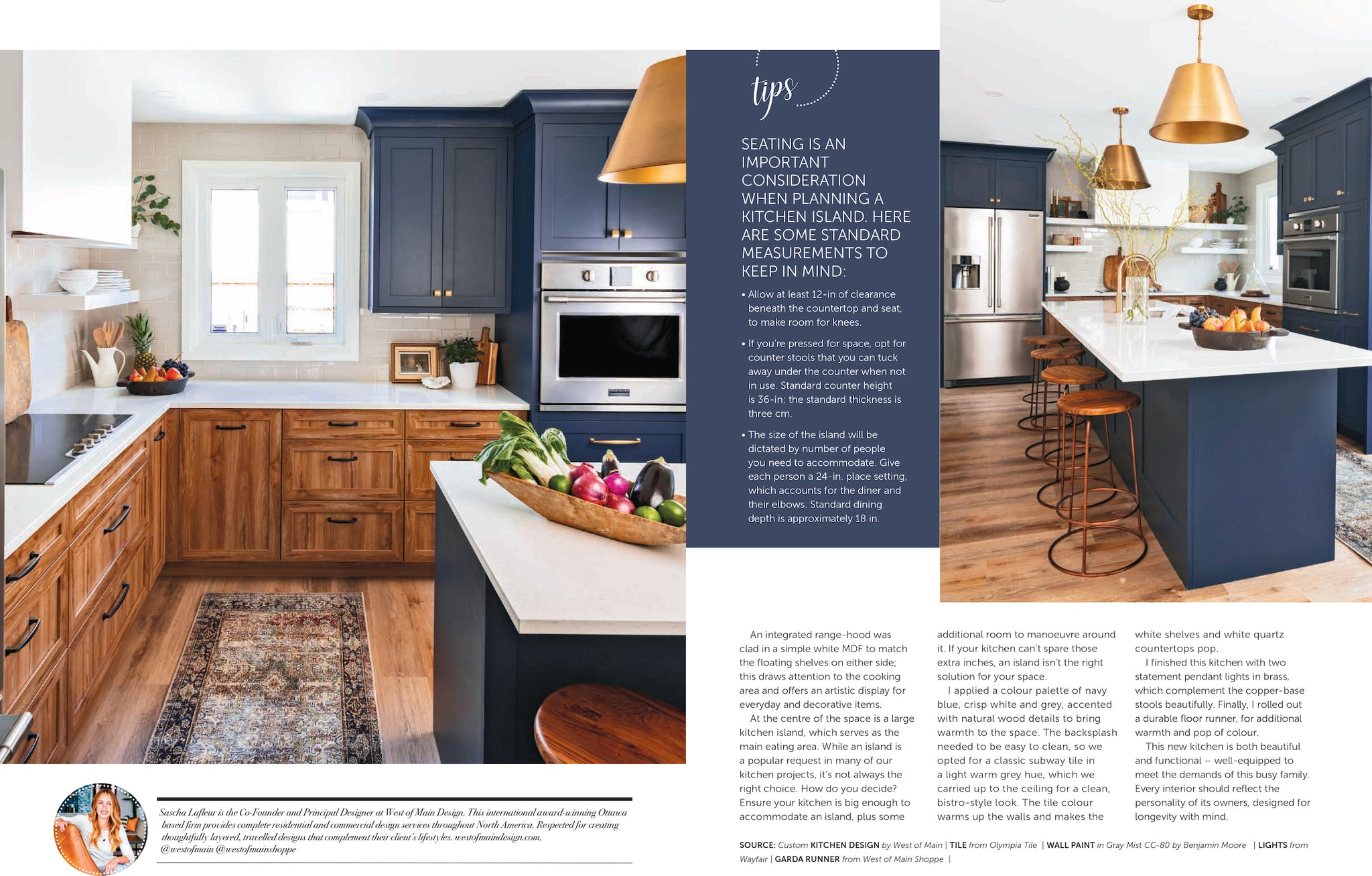 Two-toned, navy and wood kitchen.