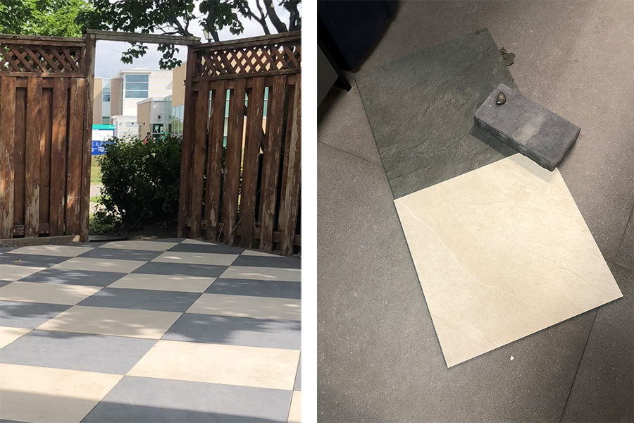 Euro Tile tile samples for outdoor patio dining area.