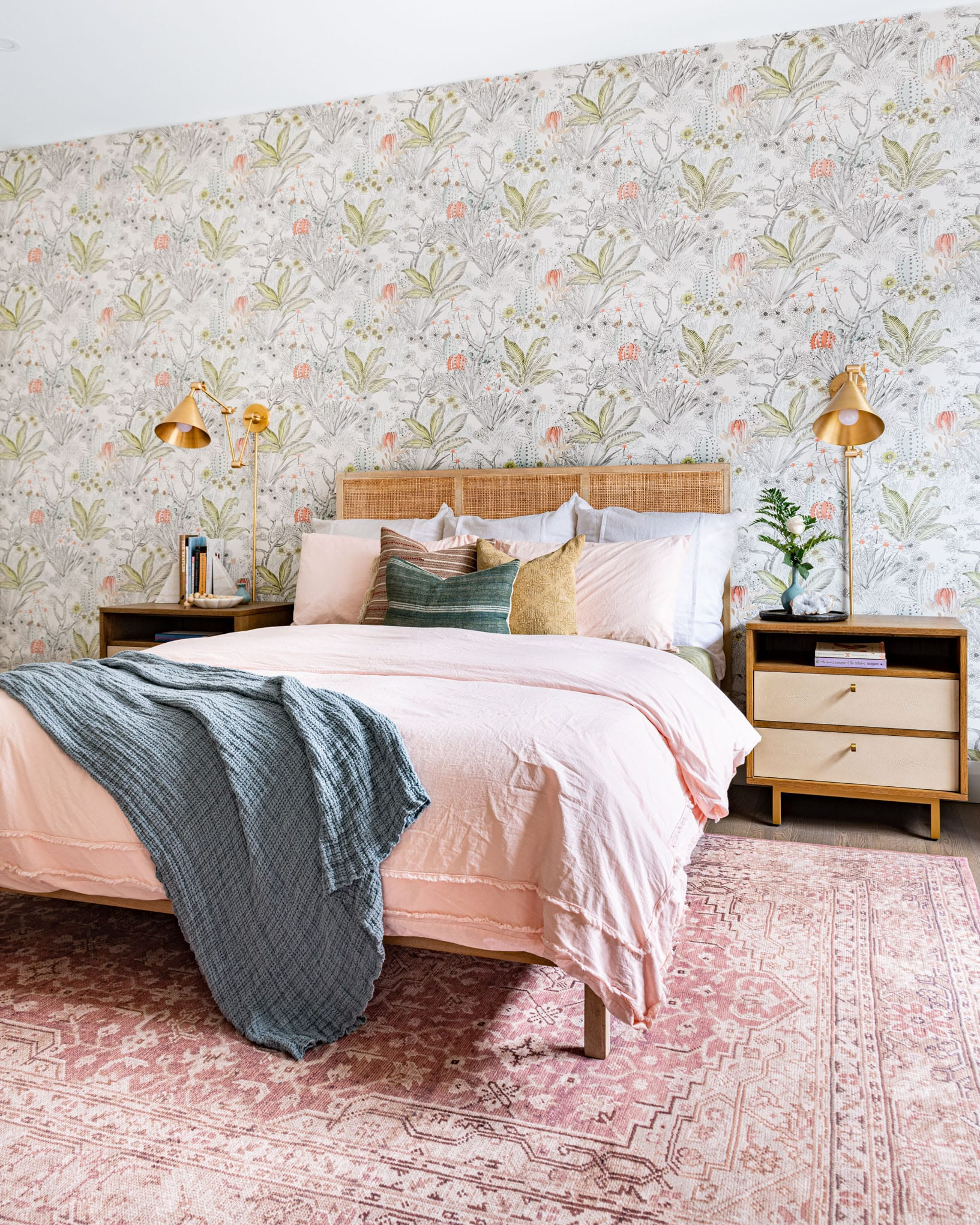 bed with pillows interior design