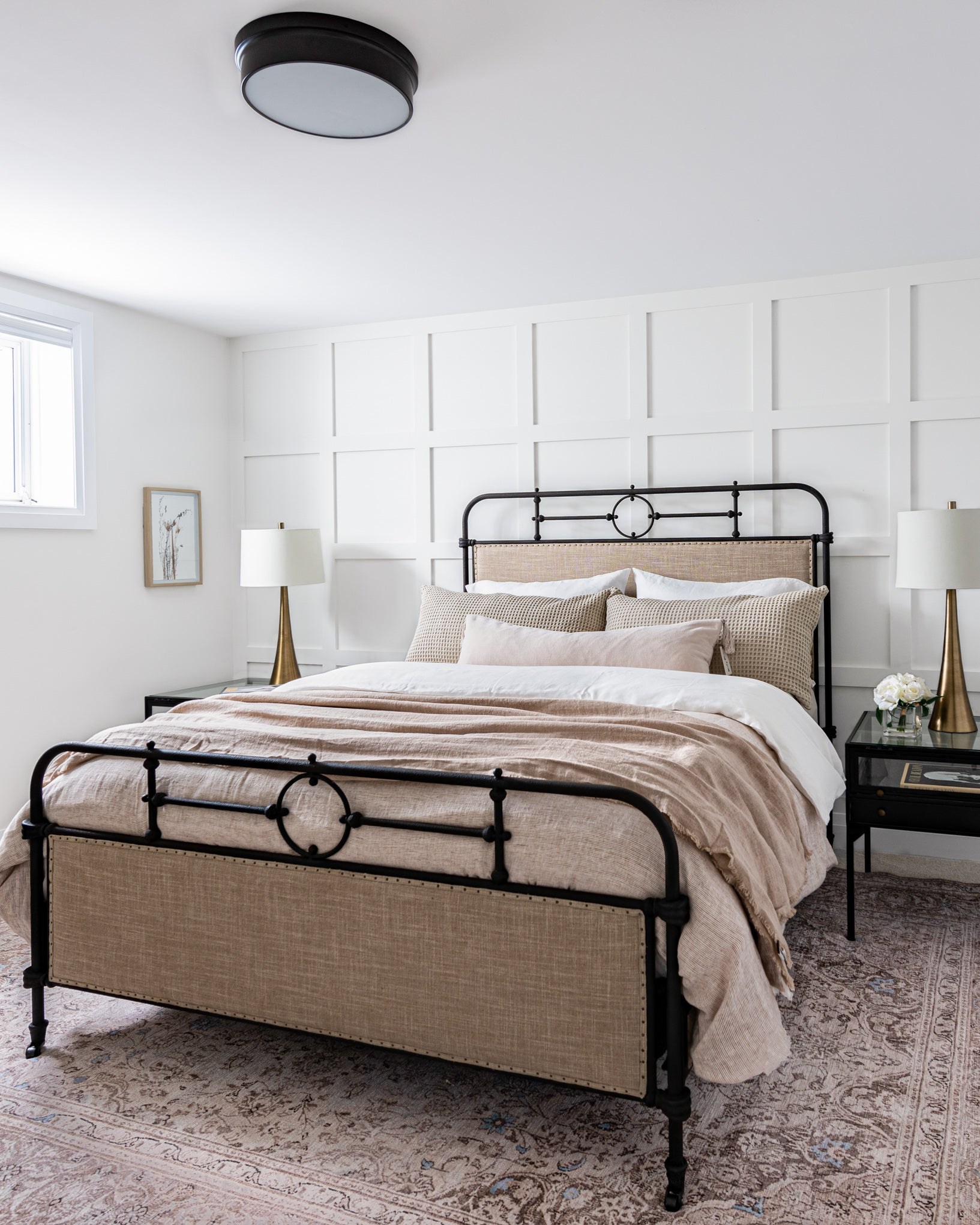 Blush and white guest bedroom.