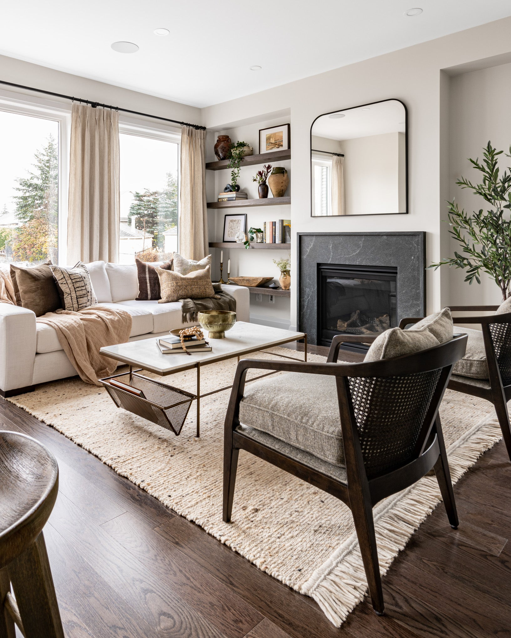 Cozy living room with modern fireplace design.