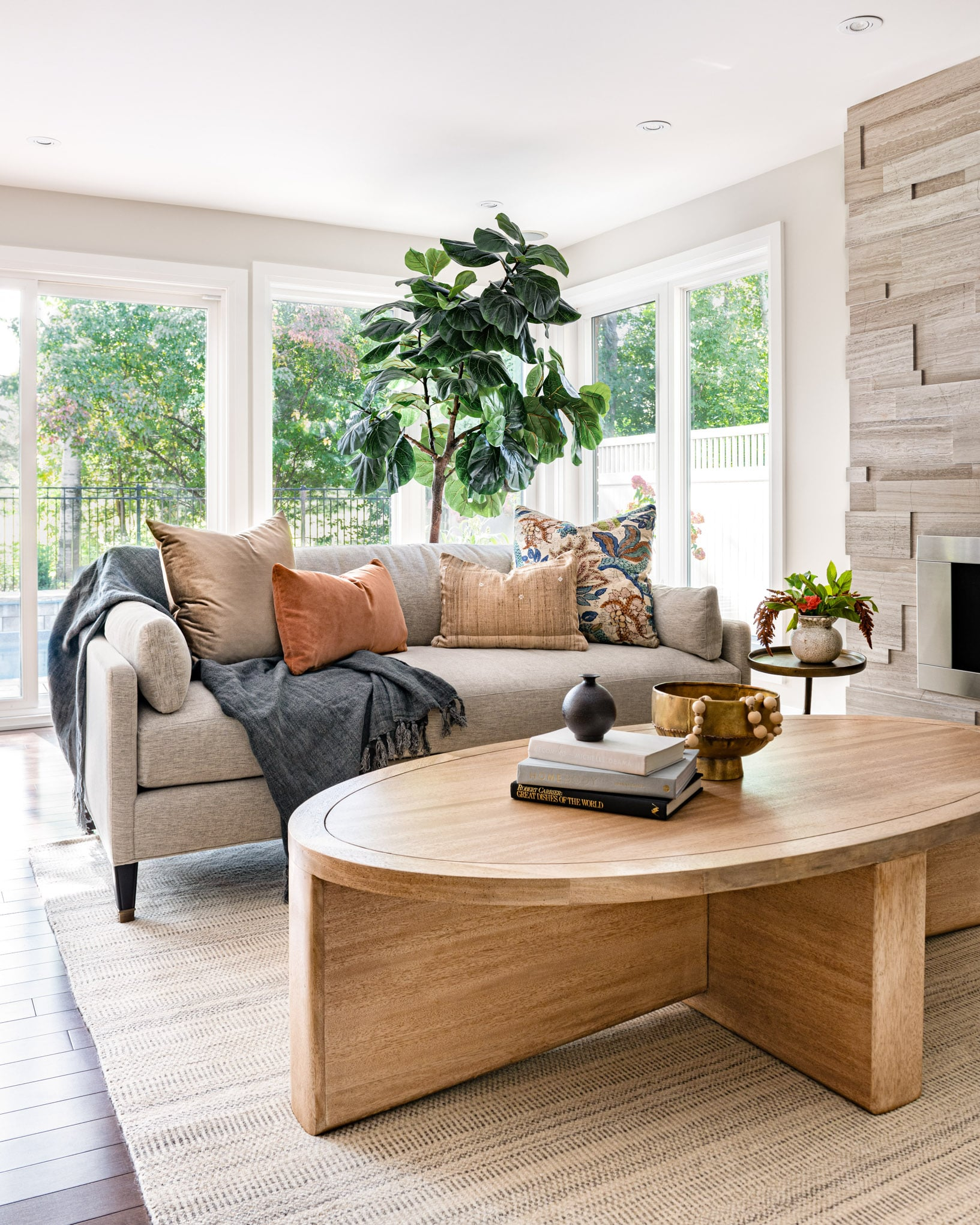 living room with oval table