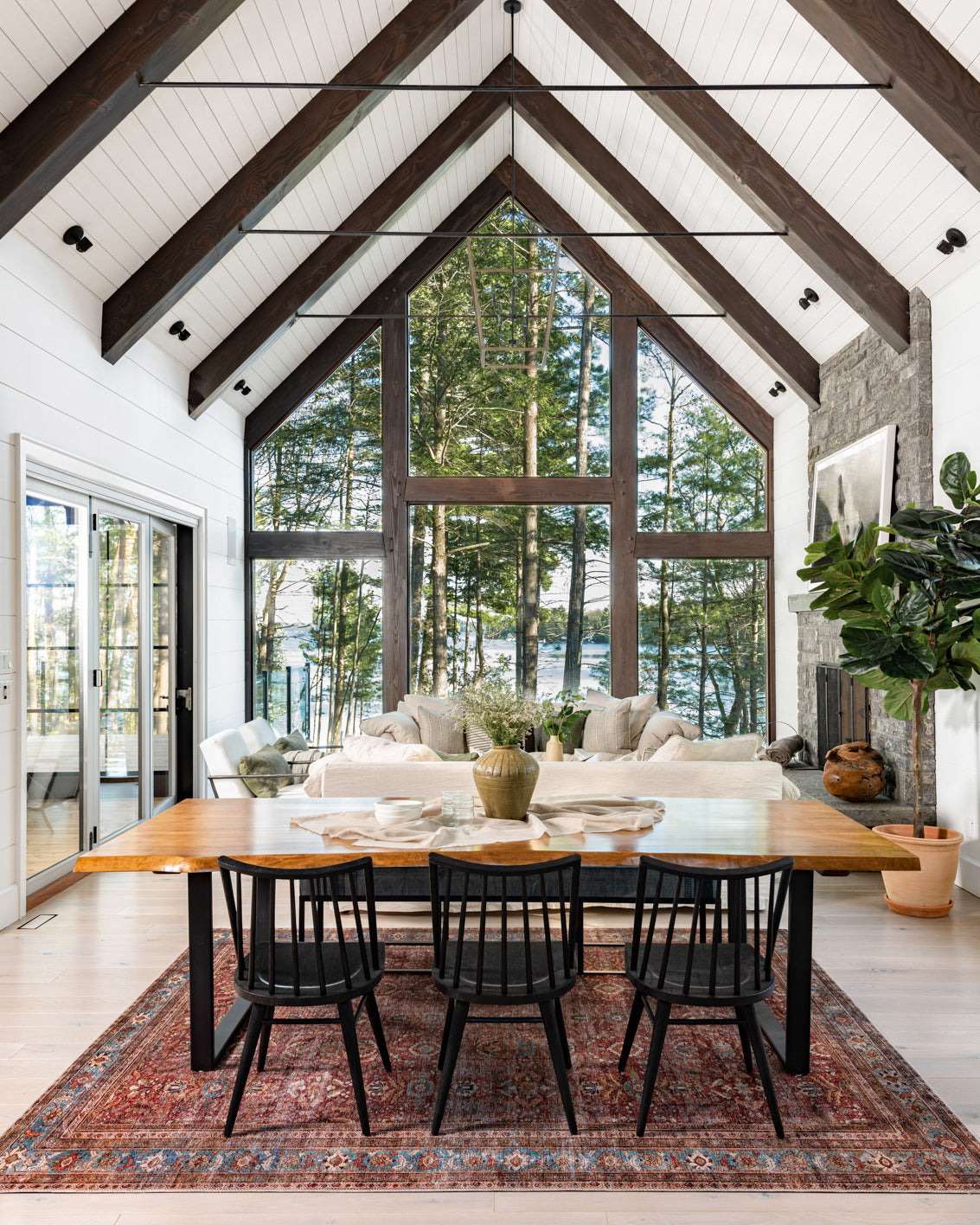Muskoka lake house dining room with a view.
