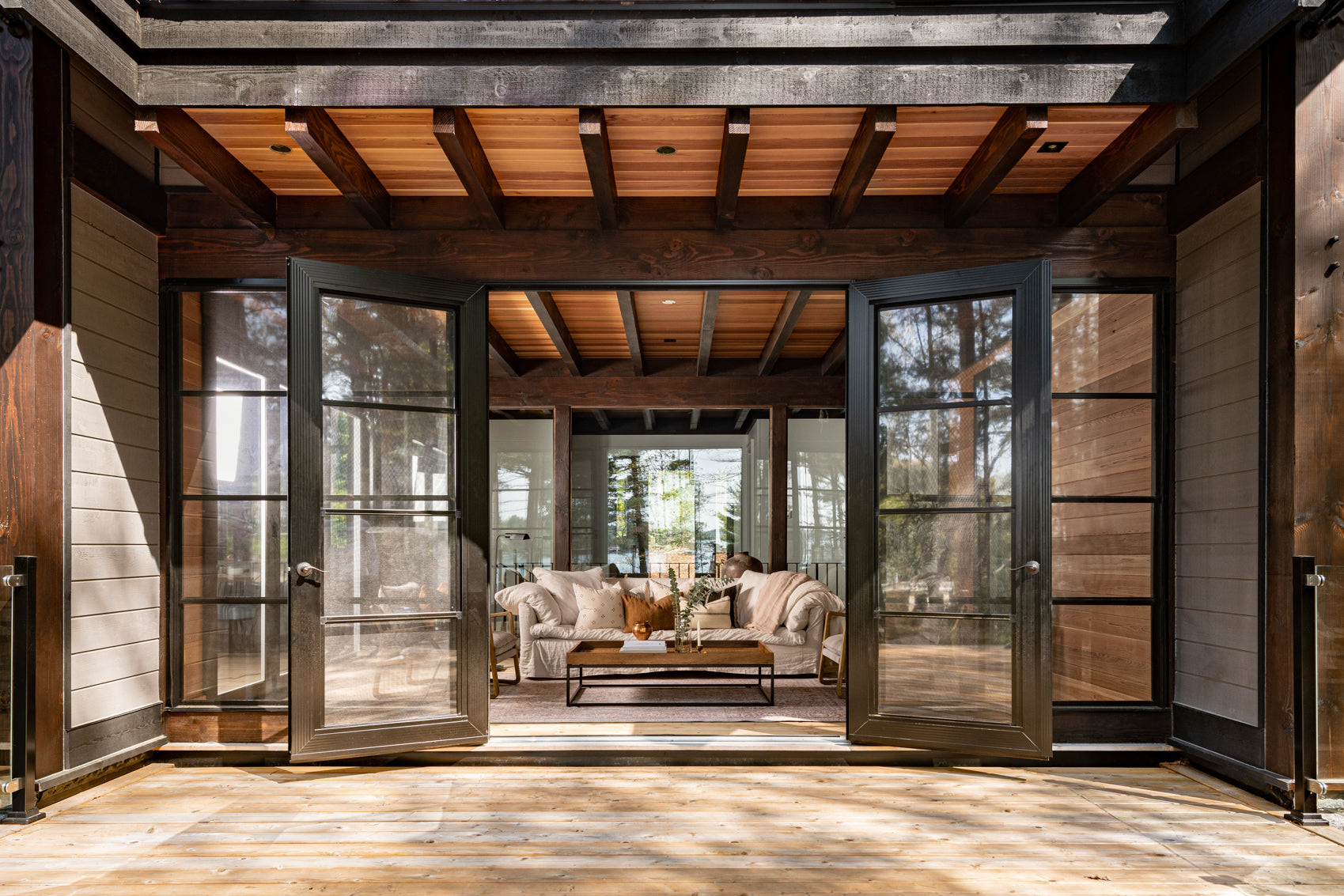 Sunroom surrounded by nature.