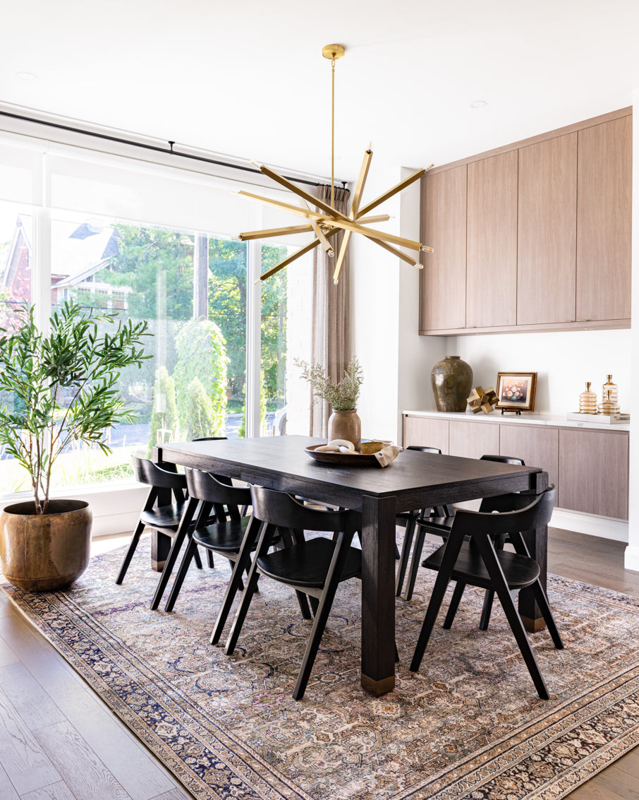 Modern and earthy dining room.