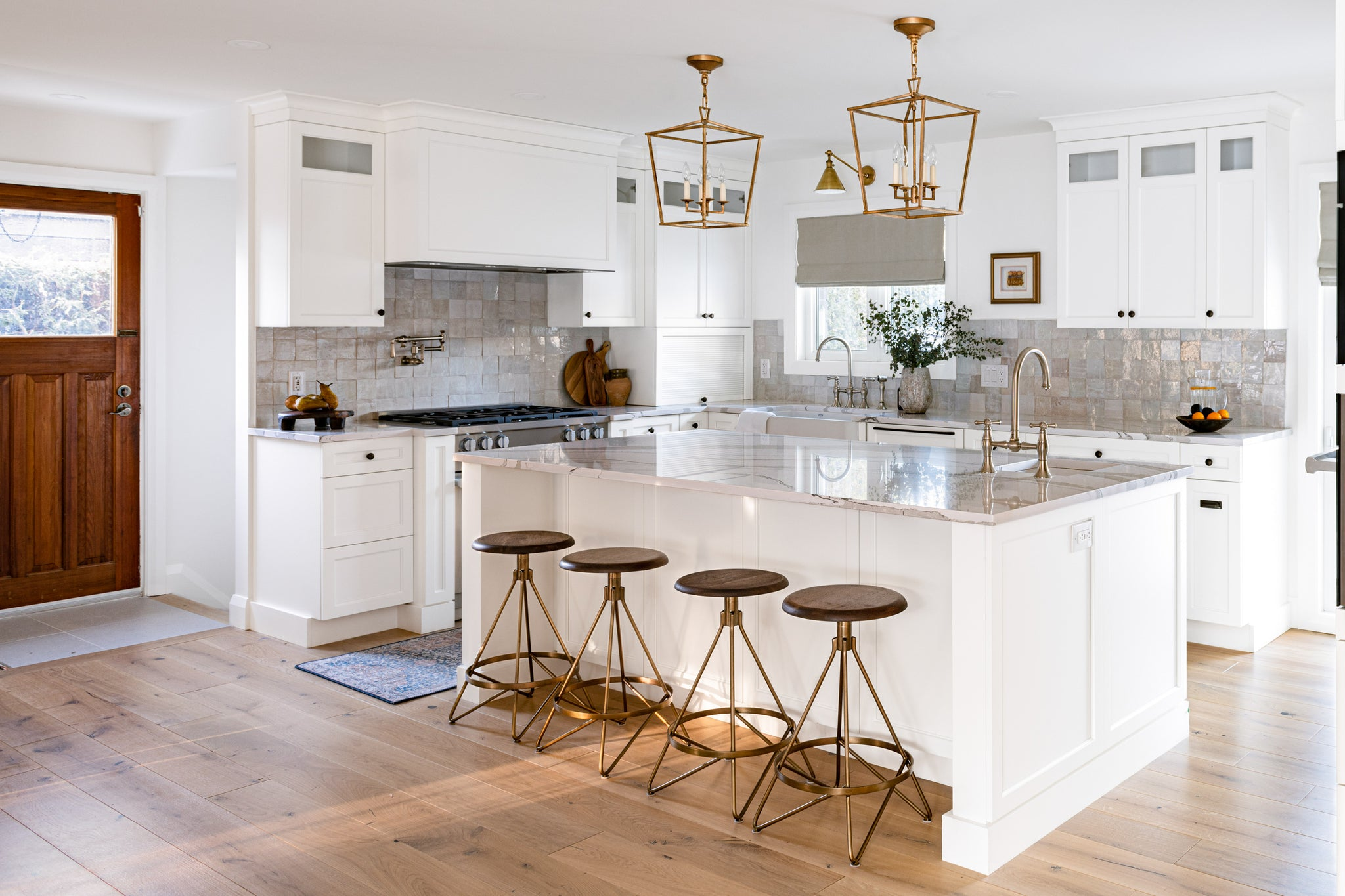 Classic white kitchen with wood accents.