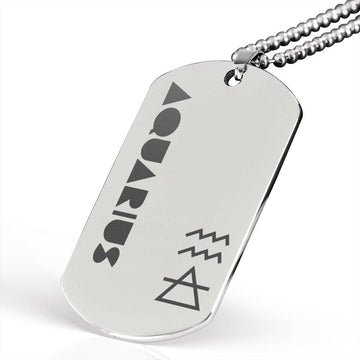 AQUARIUS Stainless Steel Military Dog Tag Necklace - House of the Twelve
