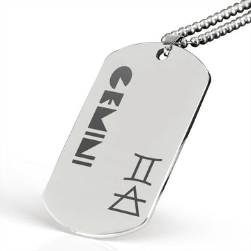 GEMINI Stainless Steel Military Dog Tag Necklace - House of the Twelve