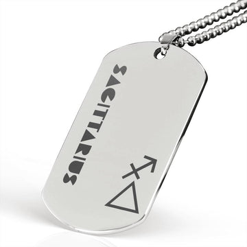 SAGITTARIUS Stainless Steel Military Dog Tag Necklace - House of the Twelve