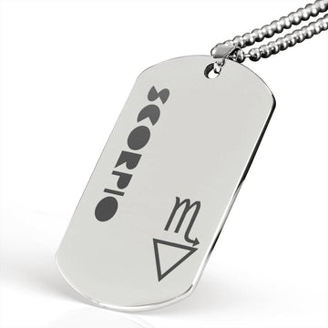 SCORPIO Stainless Steel Military Dog Tag Necklace - House of the Twelve