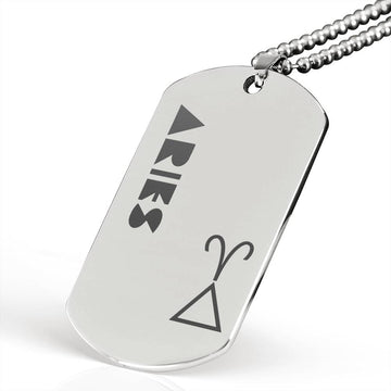 ARIES Stainless Steel Military Dog Tag Necklace - House of the Twelve