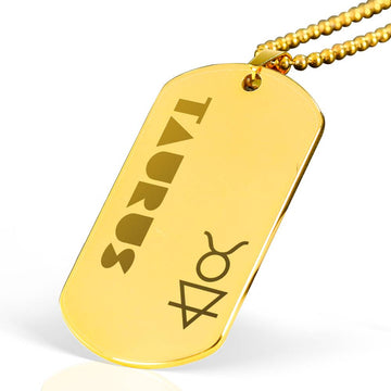TAURUS 18k Gold Plated Military Dog Tag Necklace - House of the Twelve