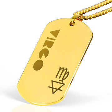 VIRGO 18k Gold Plated Military Dog Tag Necklace - House of the Twelve