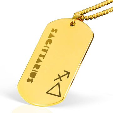 SAGITTARIUS 18k Gold Plated Military Dog Tag Necklace - House of the Twelve