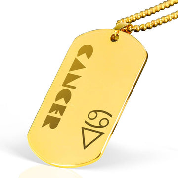 CANCER Gold Plated Military Dog Tag Necklace - House of the Twelve