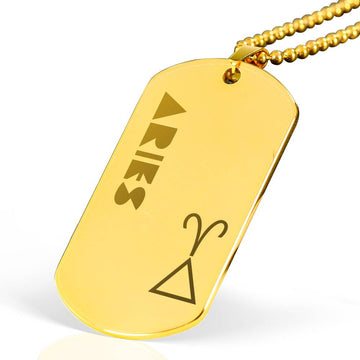 ARIES 18k Gold Plated Military Dog Tag Necklace - House of the Twelve