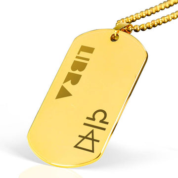 LIBRA 18k Gold Plated Military Dog Tag Necklace - House of the Twelve