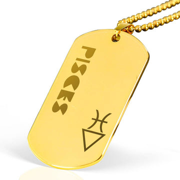 PISCES 18k Gold Plated Military Dog Tag Necklace - House of the Twelve