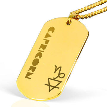 CAPRICORN 18k Gold Plated Military Dog Tag Necklace - House of the Twelve