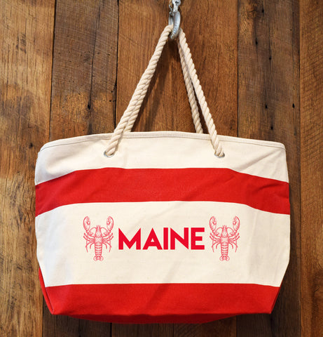 red stripe rope handle lobster beach bag