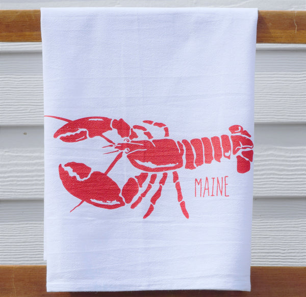 Maine red lobster tea towel