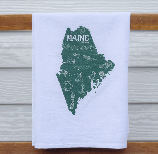 Maine state tea towel nautical