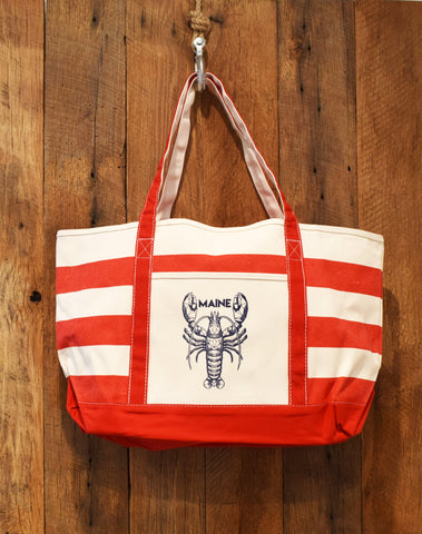 red beach bag with lobster print