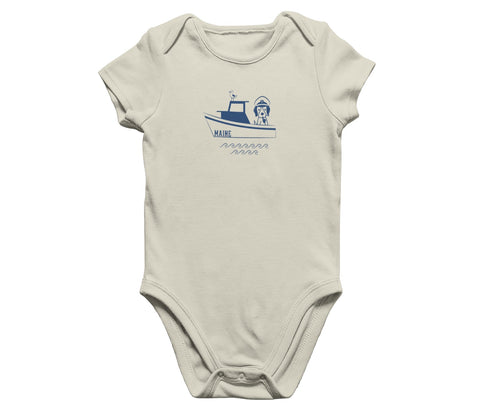 Maine dog sailboat onesie