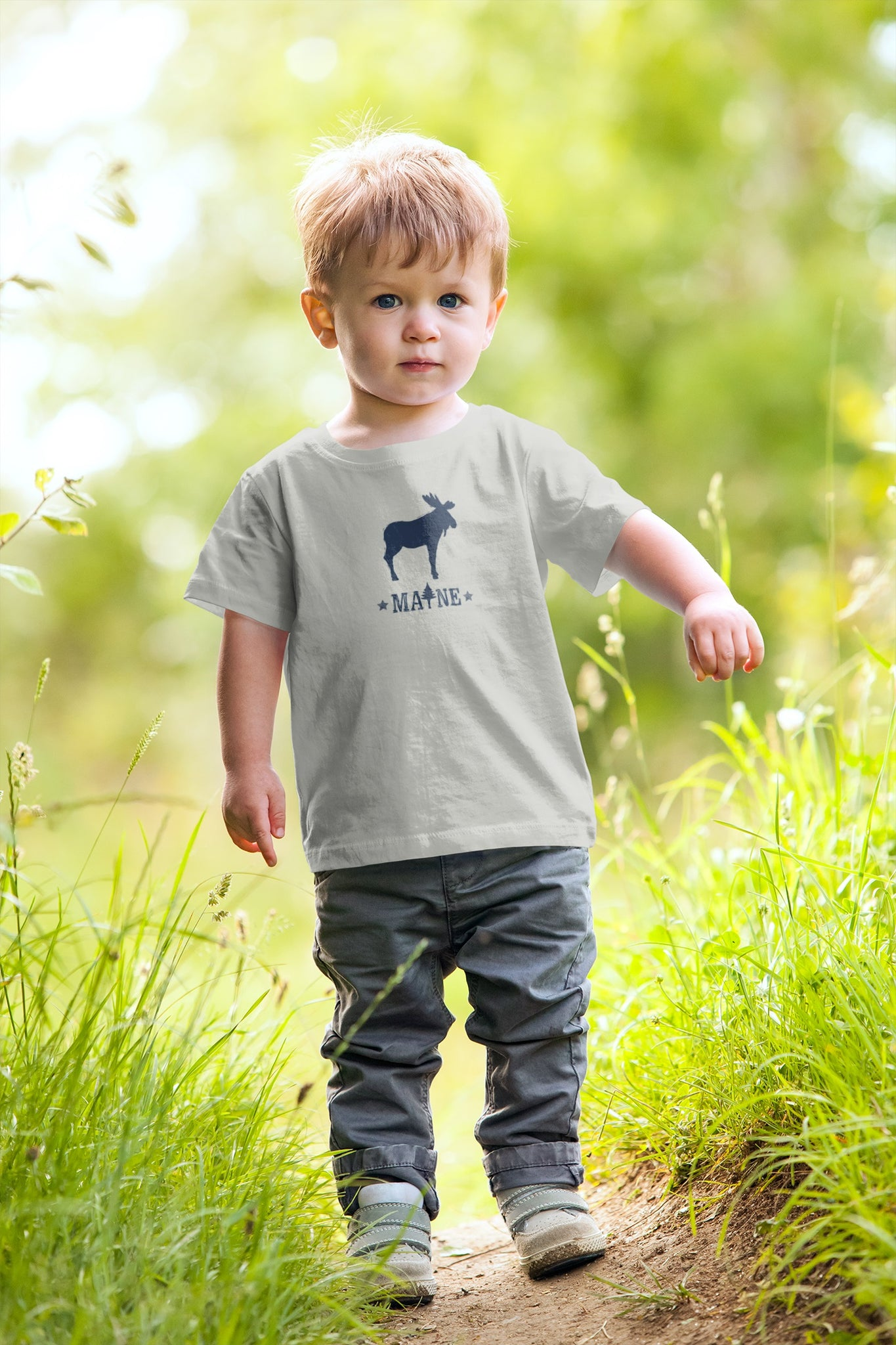 Maine moosie grey toddler tee