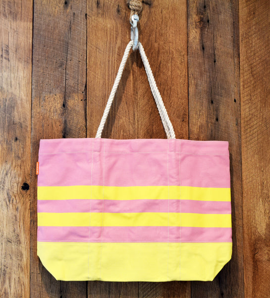 coral and yellow beach bag