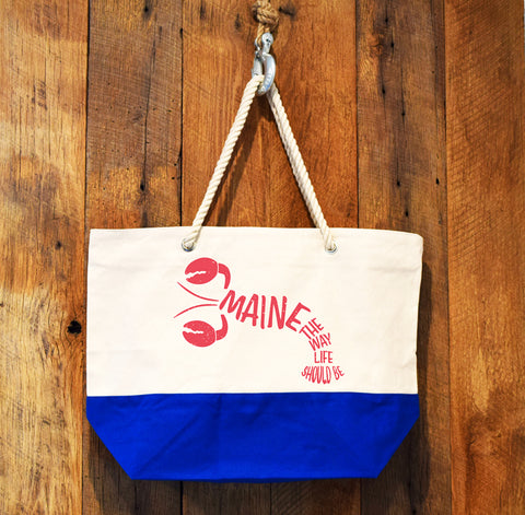 red lobster royal blue tote bag