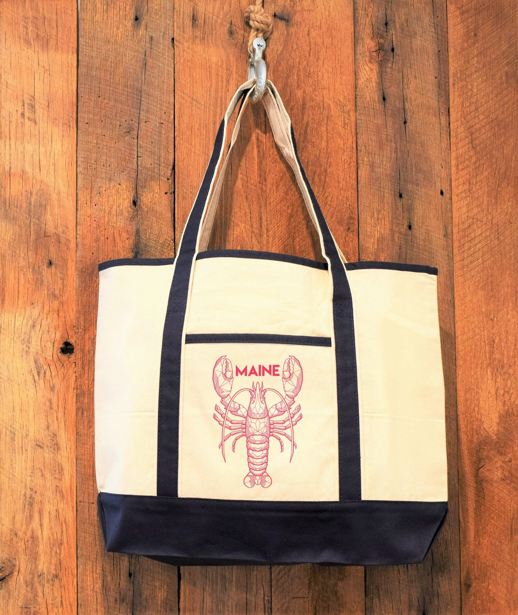 Navy Trim Canvas tote bag with lobster print